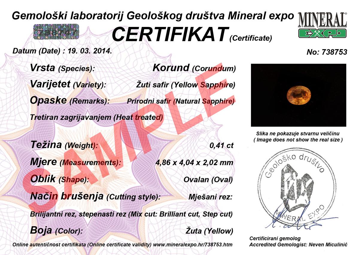 Certifikat za žuti safir