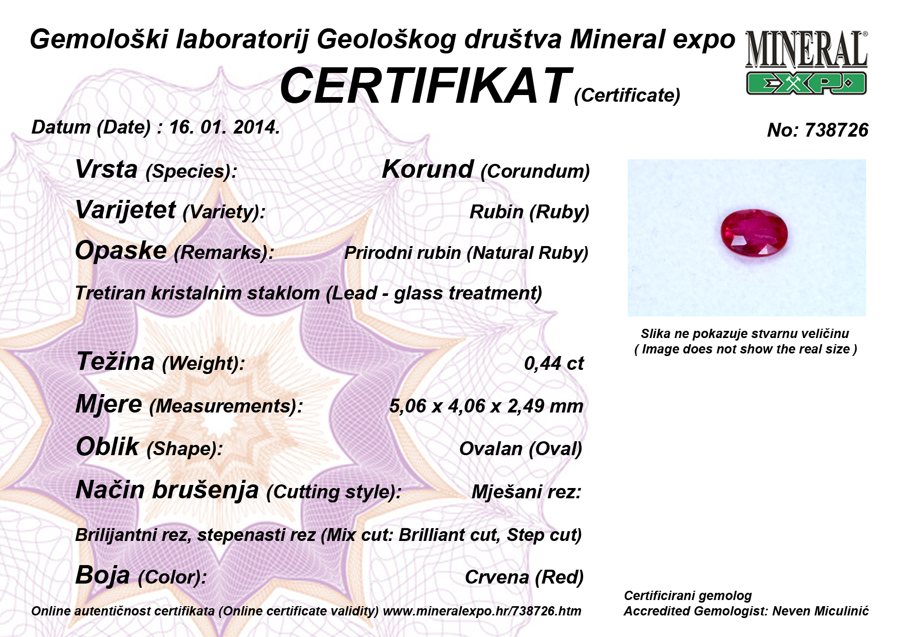 Certifikat za rubin