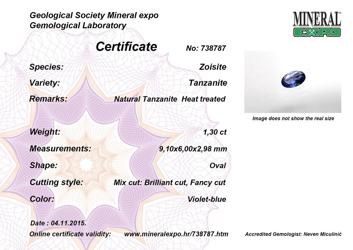 Certifikat za tanzanit