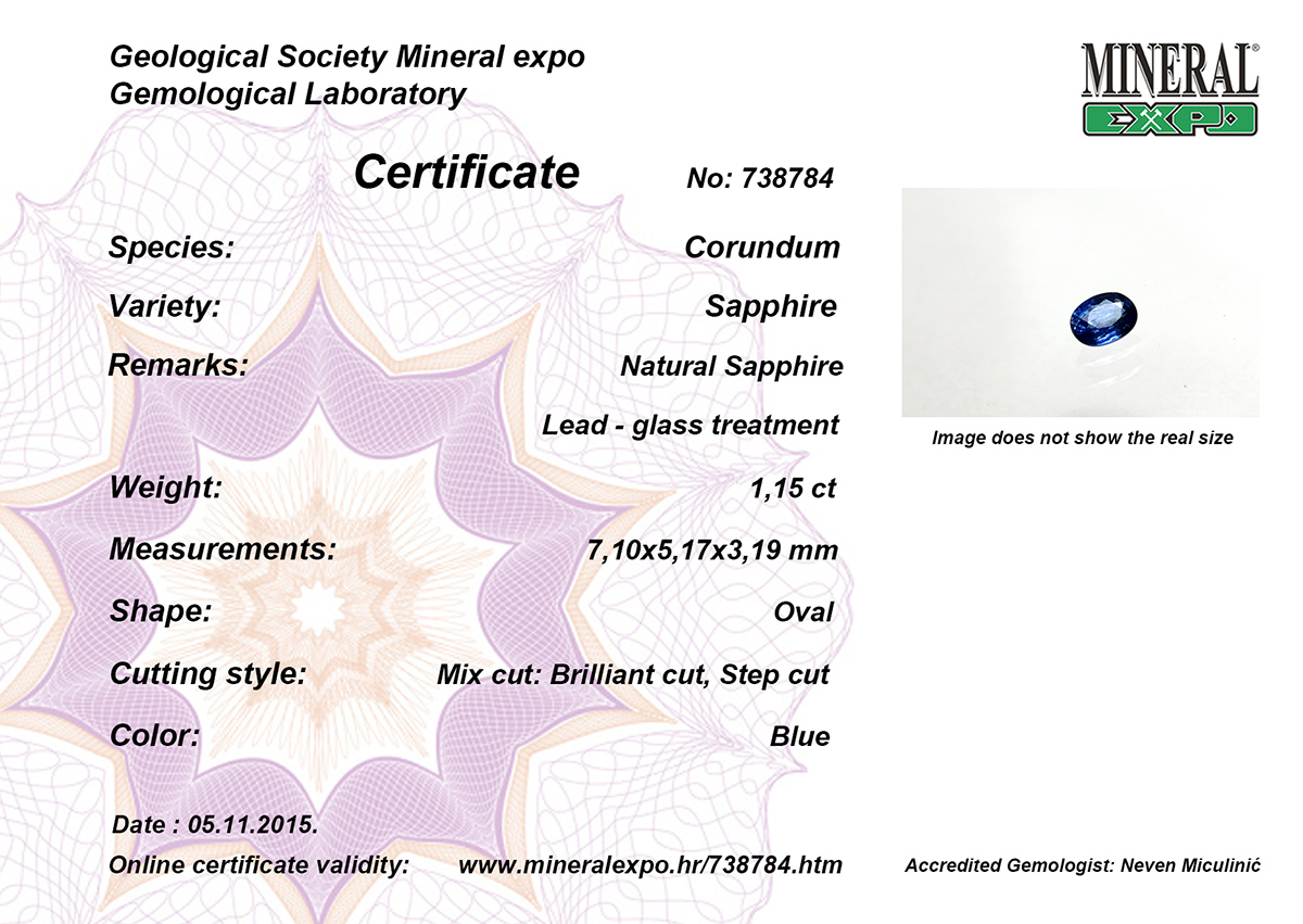 Certifikat za safir