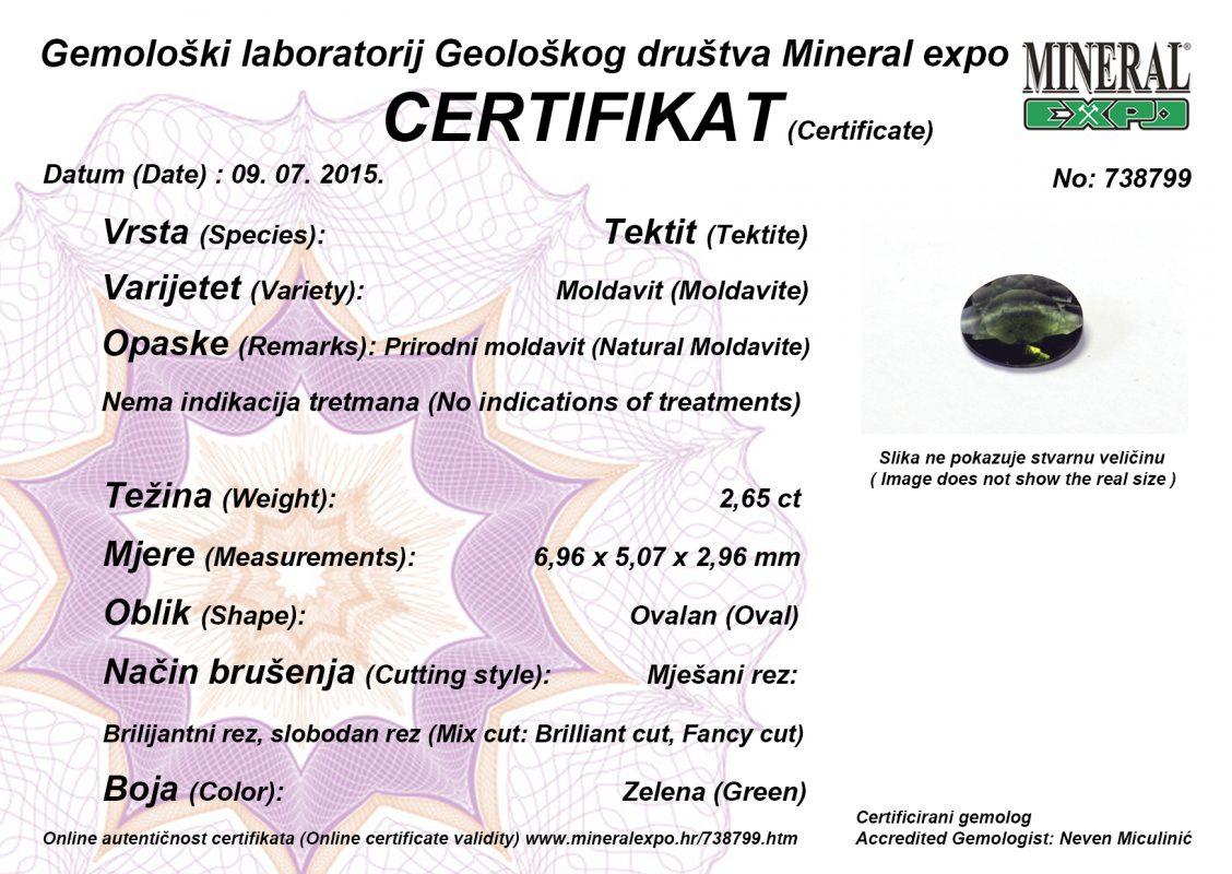 Certifikat za moldavit