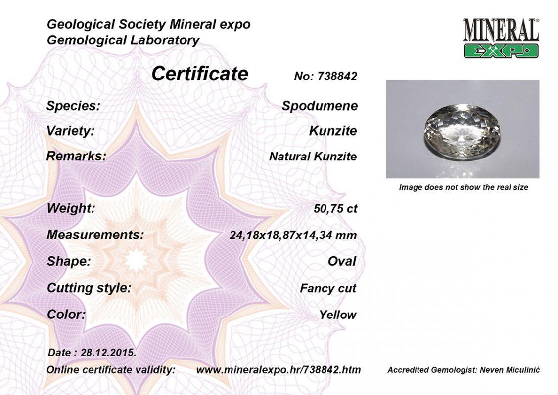 Certifikat za kunzit