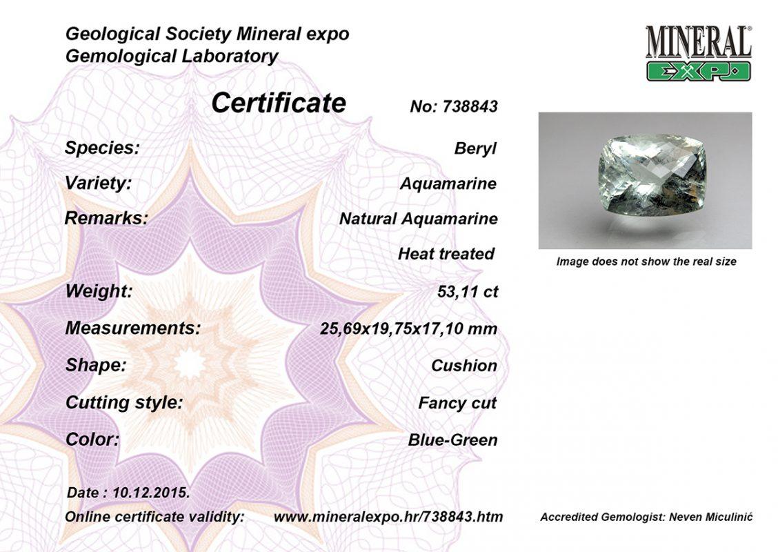 Certifikat za akvamarin