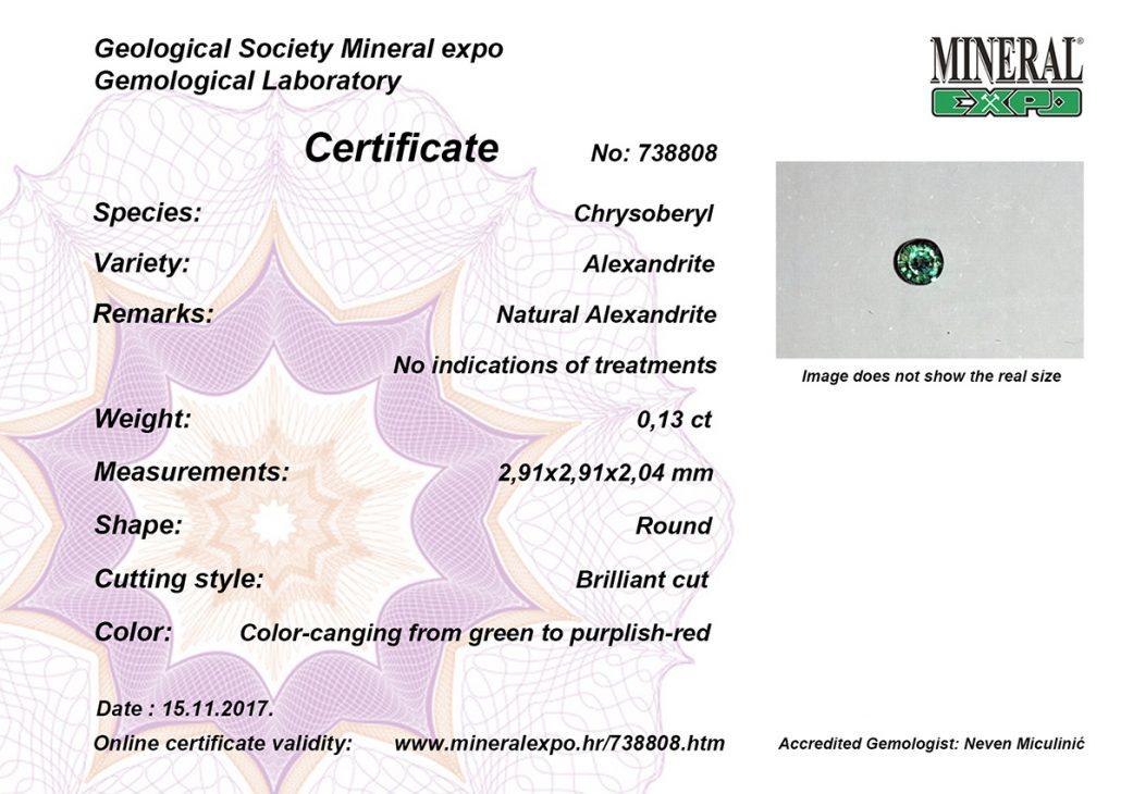 certifikat za aleksandrit