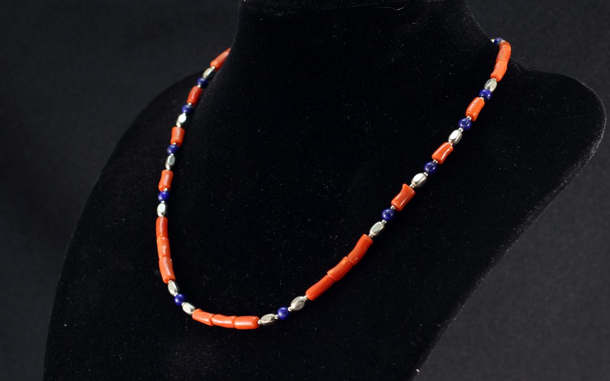 Ogrlica Jadranski koralj i lapis lazuli